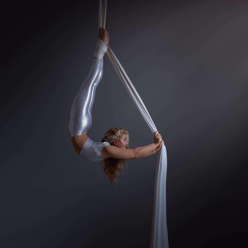 Aerial silk performer