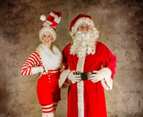 Elf and Santa Stilt Walkers